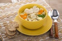 Sopa italiana com massa da galinha e do cogumelo Foto de Stock Royalty Free