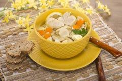 Sopa italiana com massa da galinha e do cogumelo Imagens de Stock Royalty Free