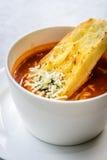 Sopa italiana del minestrone con pan de ajo y queso cheddar rallado Imagen de archivo