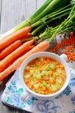 Sopa nutritivo da lentilha, da cenoura e do alho-porro Imagens de Stock Royalty Free