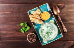 Sopa ou iogurte frio do verão com rabanete, pepino, aneto, ervas e biscoitos no fundo de madeira escuro Okroshka Alimento caseiro Imagens de Stock