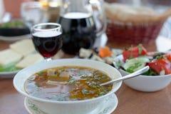 Sopa picante de la Carne de vaca-nuez georgiana con las hierbas frescas y subida Fotos de archivo libres de regalías