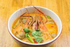 Sopa picante del camarón Fotografía de archivo libre de regalías