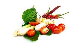 A sopa picante tailandesa dos ingredientes Tom-yum inclui o nardo, cal, fotografia de stock