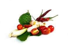 A sopa picante tailandesa dos ingredientes Tom-yum inclui o nardo, kaffir imagem de stock