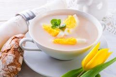 Sopa polonesa de Easter com ovo imagens de stock