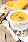 Sopa poner crema de la calabaza Imagen de archivo