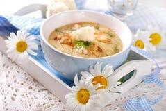 Sopa poner crema de la coliflor con el pollo y el queso parmesano Imagenes de archivo