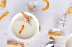 Sopa poner crema del ajo en la placa blanca Imágenes de archivo libres de regalías