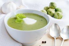 Sopa poner crema del bróculi Fotografía de archivo libre de regalías