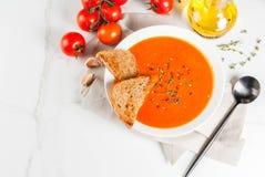 Sopa poner crema del tomate imagen de archivo libre de regalías