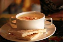 Sopa poner crema en la taza blanca Fotografía de archivo libre de regalías