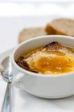Sopa quente com cebola e queijo fotos de stock royalty free