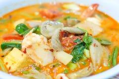 Sopa quente e ácida com camarão e vegetal imagem de stock