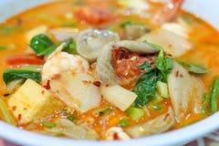 Sopa quente e ácida com camarão e vegetal imagens de stock