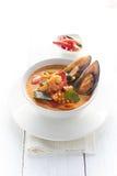 Sopa quente e ácida do marisco Foto de Stock Royalty Free