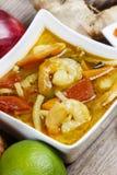 Sopa quente e ácida tailandesa simples e popular do kung de Tom yum imagens de stock