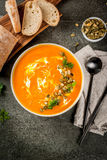 Sopa quente e picante da abóbora fotografia de stock royalty free