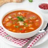 Sopa Roasted do tomate com feijões, aipo e pimenta doce Fotos de Stock