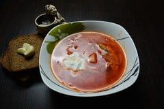 Sopa roja con ajo del pan de las hierbas Fotografía de archivo