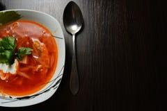 Sopa roja con ajo del pan de las hierbas Imagen de archivo libre de regalías