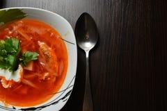 Sopa roja con ajo del pan de las hierbas Fotografía de archivo libre de regalías
