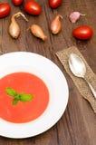 Sopa roja de la crema del tomate en formato vertical Fotografía de archivo