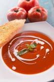 Sopa roja del tomate con nata para montar Foto de archivo