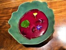 Sopa rosada deliciosa de Xavier Pellicer, ciudad de Barcelona, España fotografía de archivo