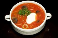 Sopa rusa con crema agria Imagen de archivo libre de regalías