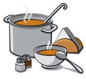 Sopa saboroso na bacia Imagem de Stock
