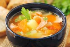 Sopa Salmon e vegetal Fotos de Stock