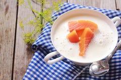 Sopa salmon fresca gourmet da sopa de peixe Imagens de Stock Royalty Free