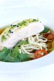 Sopa salmon oriental imagens de stock royalty free