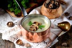 Sopa saudável do creme do cogumelo com aipo e salsa em um fundo de madeira velho Estilo rústico Foto de Stock