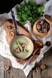 Sopa saudável do creme do cogumelo com aipo e salsa em um fundo de madeira velho Estilo rústico Imagem de Stock