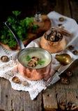 Sopa saudável do creme do cogumelo com aipo e salsa em um fundo de madeira velho Estilo rústico Fotos de Stock