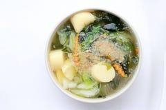 Sopa tailandesa de la alga marina del estilo con Bean Curd, verdura mezclada, queso de soja en el cuenco blanco en el fondo blanc Fotos de archivo libres de regalías