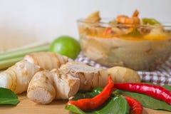 Sopa tailandesa de la especia de Tom yum, comida tailandesa popular fotos de archivo