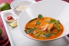 Sopa tailandesa do camarão de tom yum imagens de stock
