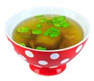 Sopa tailandesa en cuenco rojo Imagenes de archivo