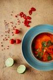 Sopa tailandesa picante del kung de Tom Yam con el camarón, los mariscos, la leche de coco y la pimienta de chile fotografía de archivo