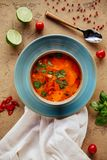 Sopa tailandesa picante do kung de Tom Yam com camarão, marisco, leite de coco e pimenta de pimentão imagens de stock royalty free