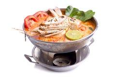 Sopa tailandesa picante do marisco do goong de Tom yum imagem de stock royalty free