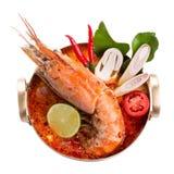 Sopa tailandesa picante do marisco do goong de Tom yum fotografia de stock