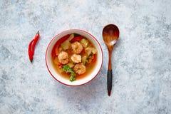 Sopa tailandesa picante tradicional de Tom Yum com camarão fotografia de stock