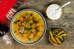 Sopa tradicional com creme de leite e pimentões Imagens de Stock Royalty Free