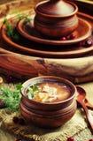 Sopa tradicional do russo do chucrute, da carne e das batatas na fotos de stock