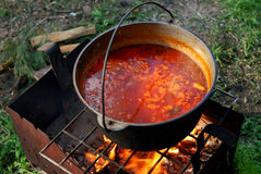 A sopa ucraniana (BORSH) cozinhou em um fogo aberto Imagens de Stock Royalty Free