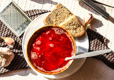 Sopa ucraniana da beterraba com feijões e alho Fotografia de Stock Royalty Free